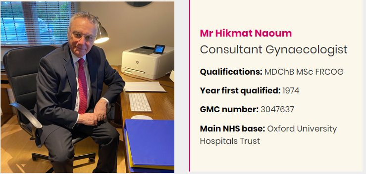Mr Hikmat Naoum - Private Gynaecologist London at Gynaecology Clinic